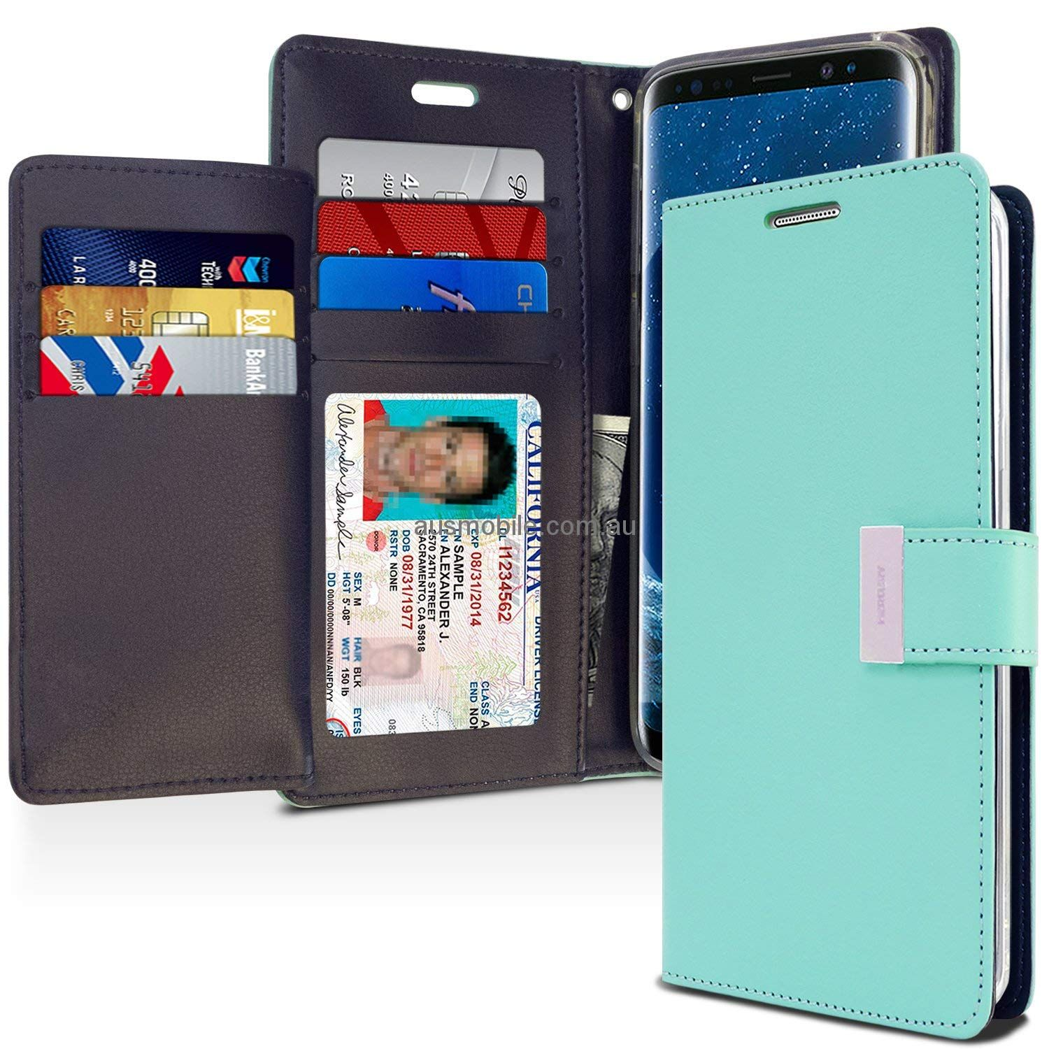 Samsung Galaxy S S9 Plus Goospery Rich Diary For S6 Canvas Case Green Mint Navy